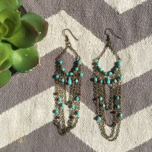 UO Turquoise brown beaded chandelier earrings